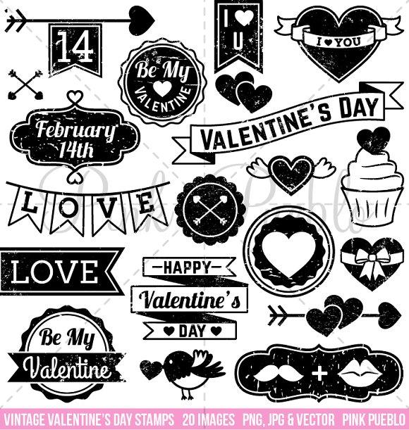 Vintage Valentine S Day Stamps Illustrations Creative Market