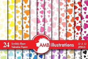 Hearts Digital Papers, AMB-1149
