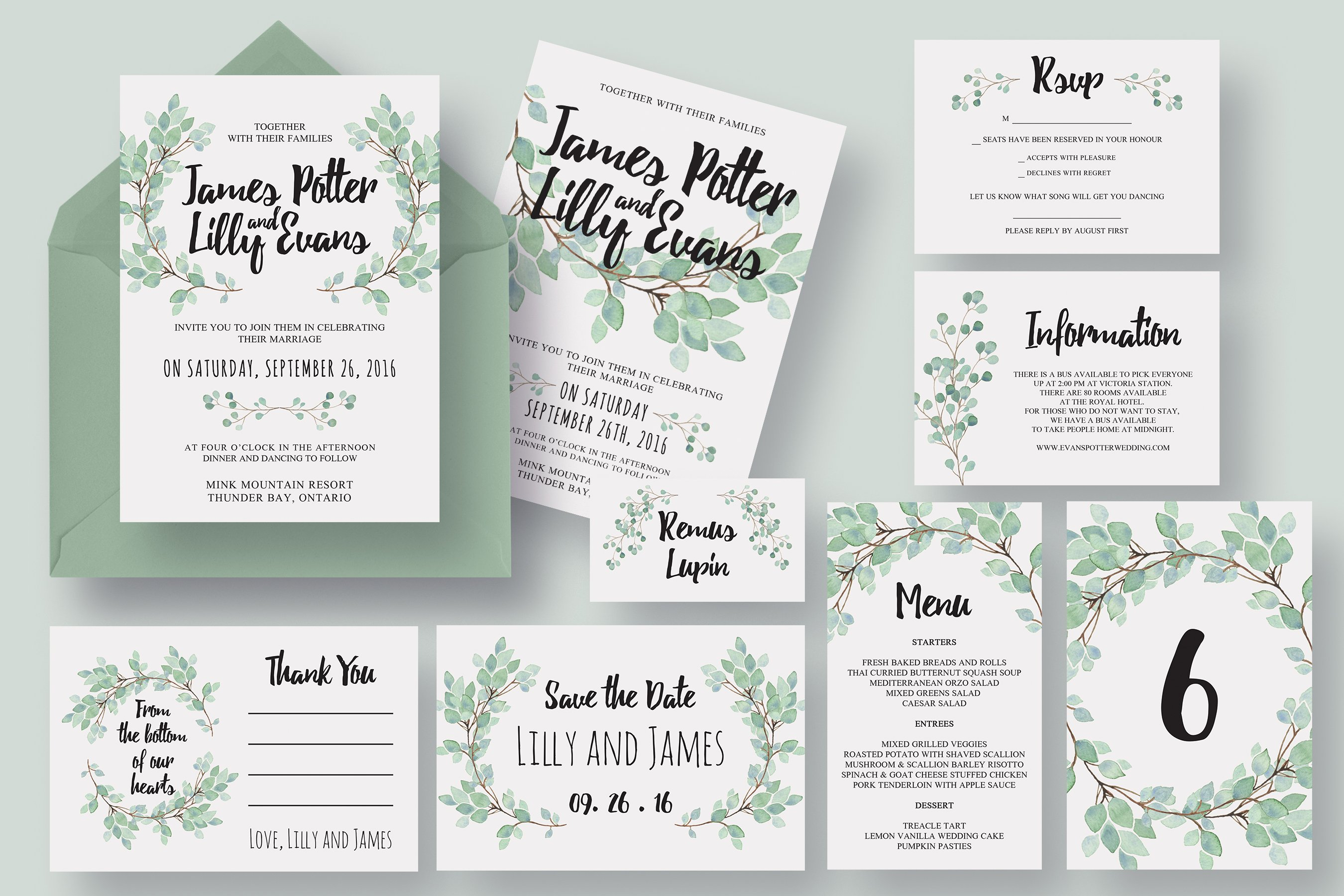 Eucalyptus wedding invitation suite invitation templates for Wedding invitation suite what to include