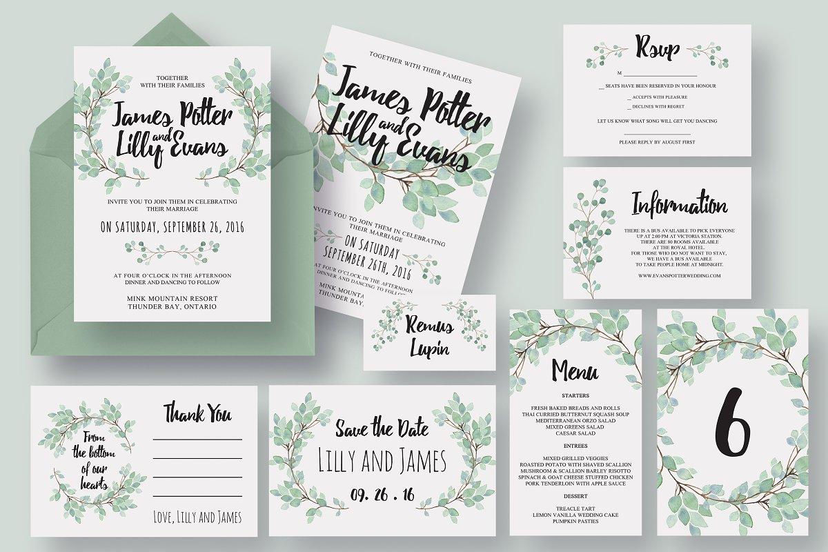 Eucalyptus Wedding Invitation Suite Templates Creative