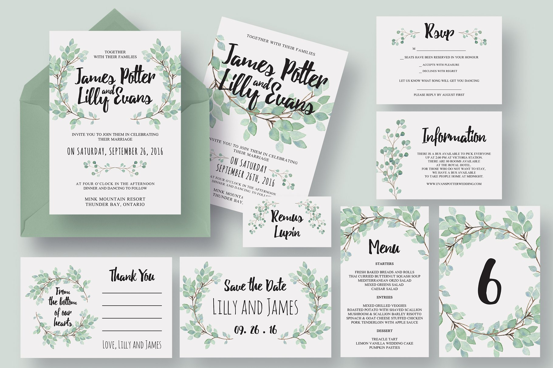 Wedding Invitation Suite Templates: Eucalyptus Wedding Invitation Suite