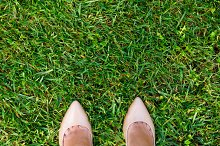 two legs on grass