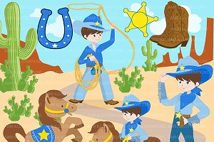Cowboys in blue clipart, AMB-184
