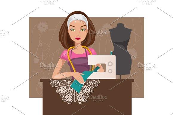 Dressmaker. Vector illustration - Illustrations