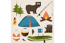 Camping set. Vector illustration