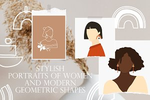 Portraits of women and shapes