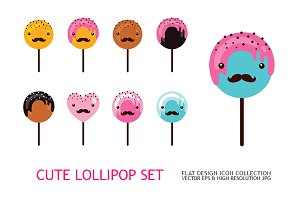 8 cute lollipop icon collection