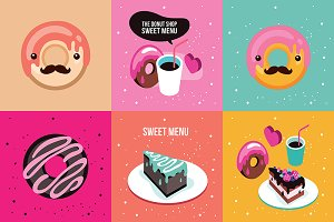 6 banners set delicious food dessert