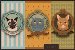 'Fancy Cats' vector set