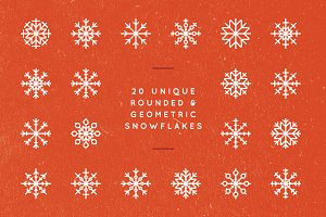 20 Rounded Geometric Snowflakes