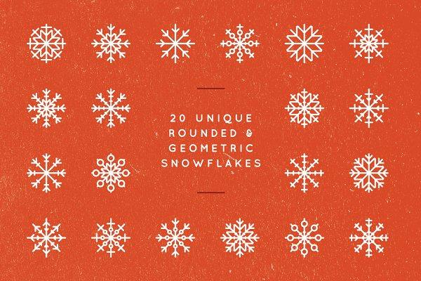 20 Rounded Geometric Snowflakes