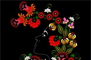 Flowers. Woman's face.
