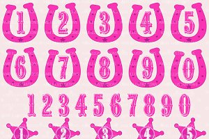 Cowgirl Numbers Clipart AMB-262
