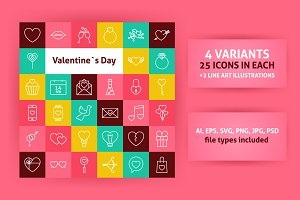 Valentine Day Line Art Icons