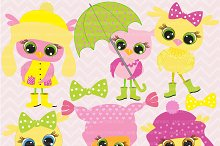 Pink Baby Owls Clipart, AMB-162