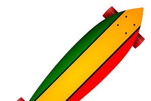 Three color longboard vector