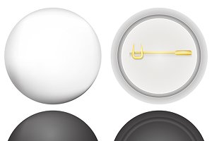 White and black round badges vector
