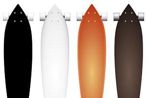 Colored vector mock-up for longboard