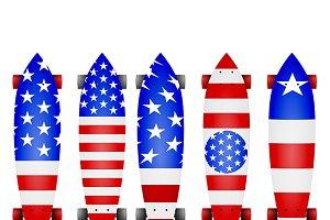 American flag longboards vector