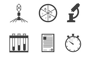 Microbiology black vector icons set