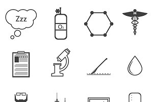 Anesthesiology black vector icons