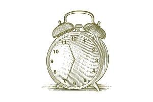 Woodcut Clock Illustration