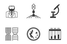Bacteriology black vector icons set