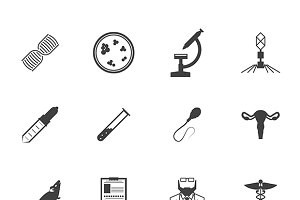 Genetics black vector icons set
