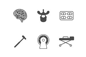 Neurology black vector icons set