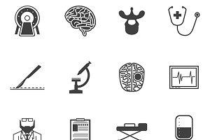 Neurosurgery black vector icons set