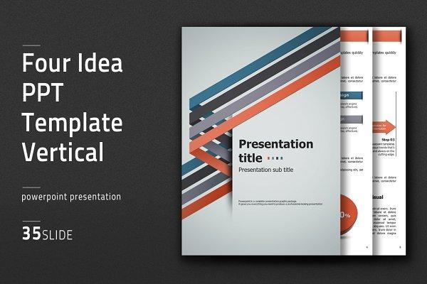Four Idea PPT Template Vertical