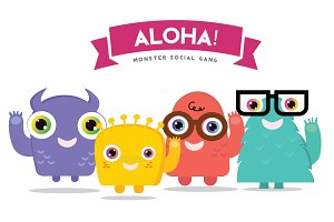 ALOHA! Monster Logo Template