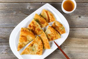 Asian Fried Pancakes and Tea