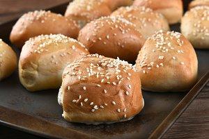 Fresh Baked Sesame Seed Dinner Rolls