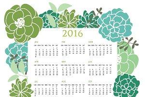 2016  Green Floral Calendar