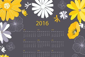 2016 YellowBlack Floral Calendar I
