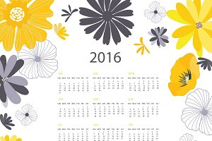 2016 YellowBlack Floral Calendar II