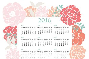 2016 Pastel Floral Calendar