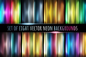 Set of eight neon backgrounds
