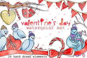 Watercolor set of Valentine's Day.