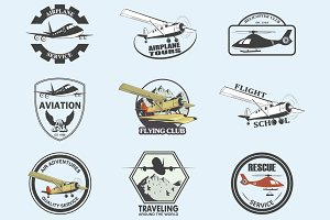 Set of aeronautics flight badges