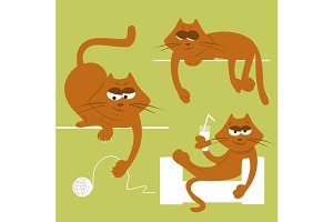 A set of funny cats. Vector