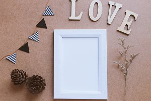 Photo frame mockup and love