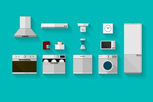 Kitchen appliances flat vector icons