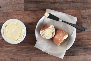 Sesame Seed Dinner Roll Butter Crock