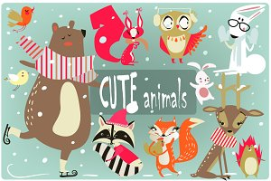 set with wild cute animals