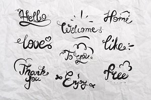 Hand drawn catchwords Hello, welcome