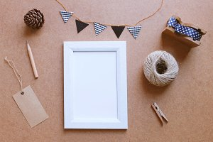 Photo frame mockup and cute decorate