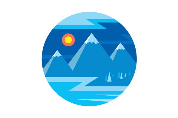 Mountains Landscape in Flat Style