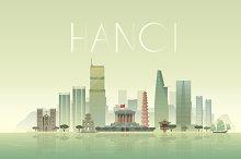 Hanoi. Vector Illustration.